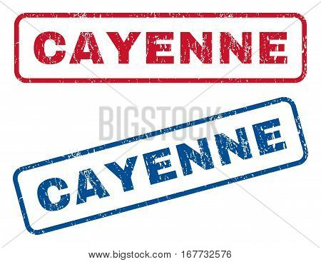 Cayenne text rubber seal stamp watermarks. Vector style is blue and red ink caption inside rounded rectangular shape. Grunge design and unclean texture. Blue and red emblems.