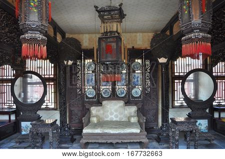 Inside view of Yihe in the Shenyang Imperial Palace Mukden Palace, Shenyang, Liaoning Province, China. Shenyang Imperial Palace UNESCO world heritage site built in 400 years ago.