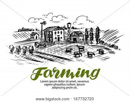 Farm sketch. Farming, agriculture or cattle breeding Vector