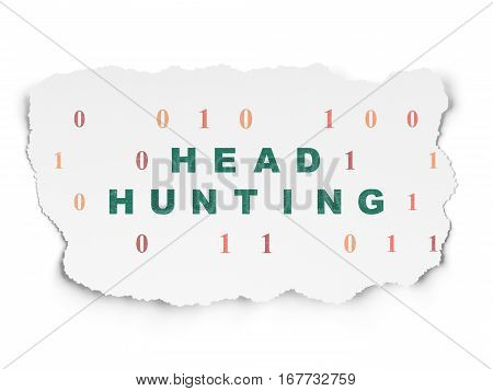 Business concept: Painted green text Head Hunting on Torn Paper background with  Binary Code