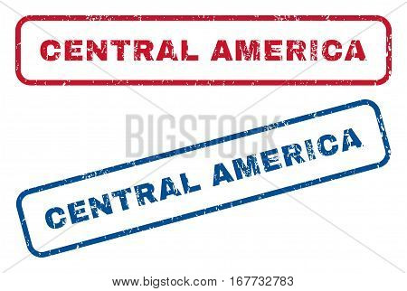 Central America text rubber seal stamp watermarks. Vector style is blue and red ink caption inside rounded rectangular shape. Grunge design and scratched texture. Blue and red stickers.