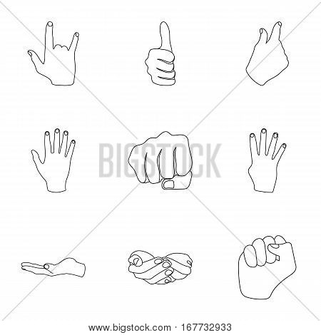 Hand gestures set icons in outline style. Big collection of hand gestures vector symbol stock