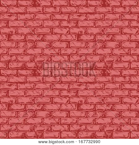 Seamless red pattern of grunge brick wall. Vector illustration texture in ink hand drawn style.