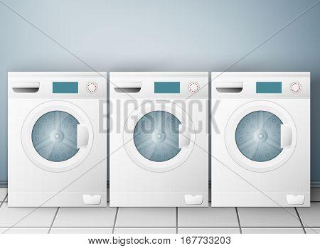 Wash machines on light background. Vector illustration, EPS 10