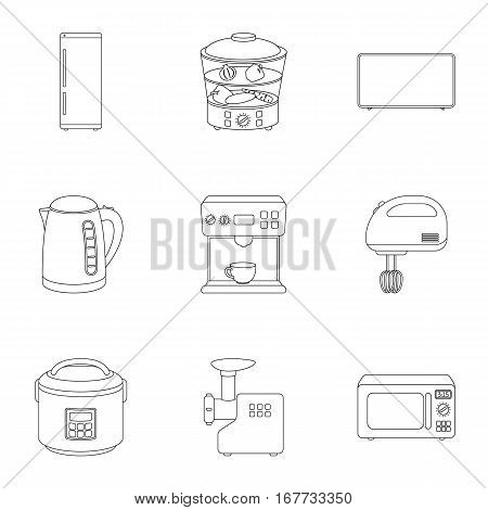 Household appliances set icons in outline style. Big collection of household appliances vector symbol stock
