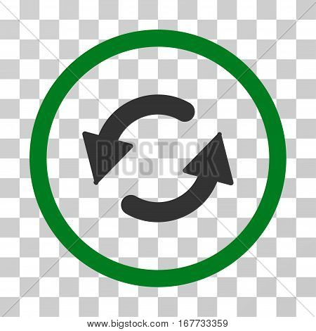 Refresh CCW rounded icon. Vector illustration style is flat iconic bicolor symbol inside a circle green and gray colors transparent background. Designed for web and software interfaces.