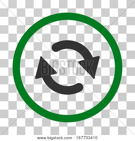 Refresh rounded icon. Vector illustration style is flat iconic bicolor symbol inside a circle green and gray colors transparent background. Designed for web and software interfaces.