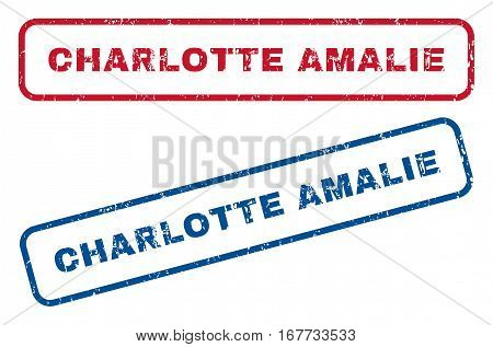 Charlotte Amalie text rubber seal stamp watermarks. Vector style is blue and red ink tag inside rounded rectangular banner. Grunge design and dust texture. Blue and red emblems.