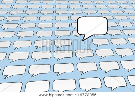 One speech bubble copy space voice talks over the noise of social media or blog voices on blue background.