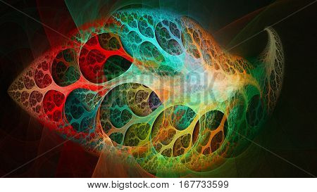 Magical tree leaf round holes. Colored swirls. 3D surreal illustration. Sacred geometry. Mysterious psychedelic relaxation pattern. Fractal abstract texture. Digital artwork graphic astrology magic