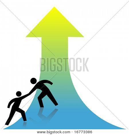 Person verleiht eine helfende Hand zum Erfolg-oben-Taste an einem Freund.