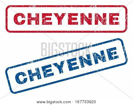 Cheyenne text rubber seal stamp watermarks. Vector style is blue and red ink caption inside rounded rectangular shape. Grunge design and unclean texture. Blue and red emblems.