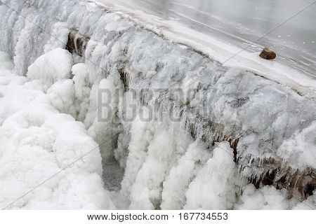 Close up of the small sluice on the River Morava in Litovel, Czech Republic, by winter