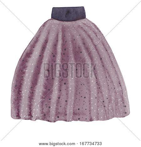 Purple modern skirt with frills. Watercolor fashion illustration.