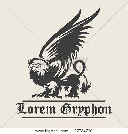 Hand drawn vintage Griffin mythological magic winged beast. Design or Heraldry concept art. Isolated vector illustration