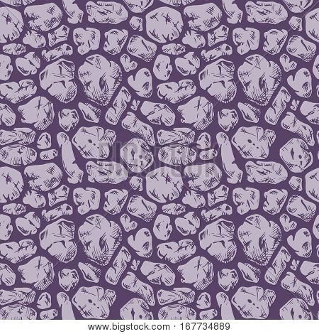 Seamless pattern of grunge stone wall. Vector illustration texture in ink hand drawn style. Cyclopean masonry. Rubble walls.