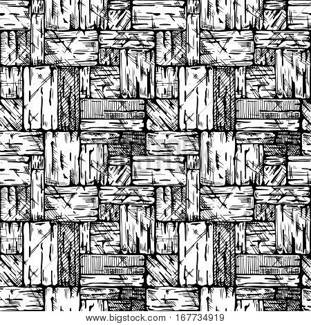 Uncoursed ashlar. Seamless black and white pattern of grunge stone wall. Vector illustration texture in ink hand drawn style.