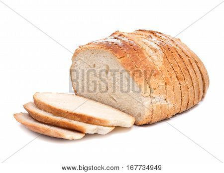 Sliced crusty country style round organic french bread isolated on white background