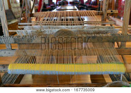 ancient greek fabric textile loom close detail