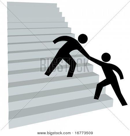 Ein Freund gibt einer Person eine helfende Hand an der Steigung der Treppe zum Erfolg.