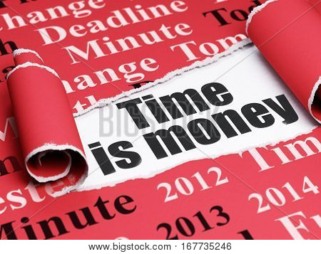 Time concept: black text Time Is money under the curled piece of Red torn paper with  Tag Cloud, 3D rendering