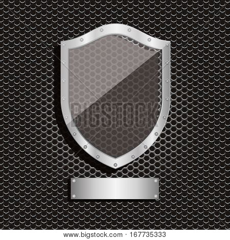 metal dot perforated texture with shield and plaque label vector illustration