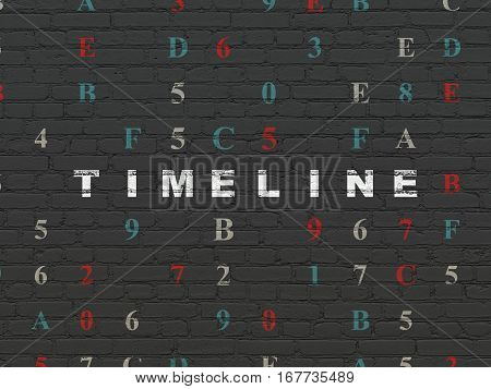 Timeline concept: Painted white text Timeline on Black Brick wall background with Hexadecimal Code
