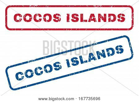 Cocos Islands text rubber seal stamp watermarks. Vector style is blue and red ink caption inside rounded rectangular shape. Grunge design and dirty texture. Blue and red signs.