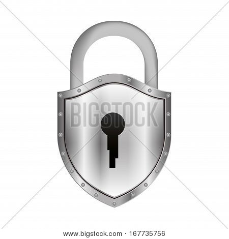 padlock with shield shape body and shackle vector illustration