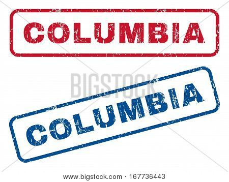 Columbia text rubber seal stamp watermarks. Vector style is blue and red ink tag inside rounded rectangular shape. Grunge design and dirty texture. Blue and red stickers.