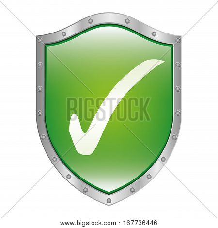 metallic shield inside with approval symbol vector illustration