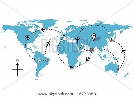 World map of airline airplane flight path travel plans. poster