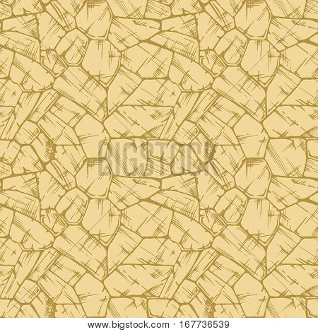 Polygonal uncoursed. Seamless pattern of grunge stone wall. Vector illustration texture in ink hand drawn style.