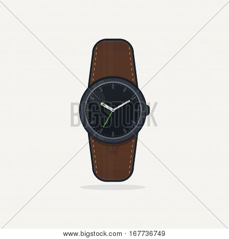 Classic wristwatch with display and leather band. Flat style vector illustration. Clock gadget.