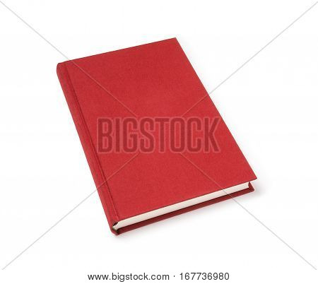 Red lying hardcover book isolated, perspective view