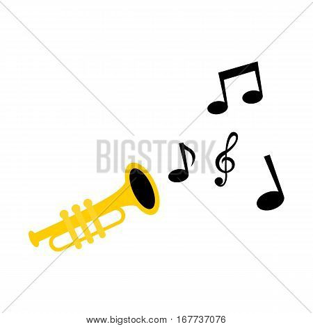 Trumpet playing with music notes. Simple isolated illustration on white background.