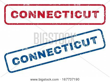 Connecticut text rubber seal stamp watermarks. Vector style is blue and red ink caption inside rounded rectangular banner. Grunge design and dirty texture. Blue and red stickers.