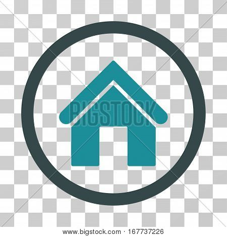 Home rounded icon. Vector illustration style is flat iconic bicolor symbol inside a circle soft blue colors transparent background. Designed for web and software interfaces.