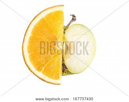 Ripe, fresh cut slices of orange and Apple isolated on white background. Perfectly retouched with clear details. Full depth of field. Fruit photographed in Studio on white background