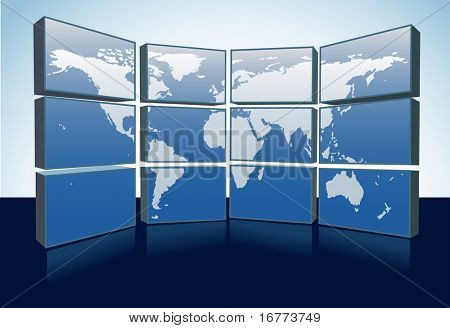 A wall of monitors display a world map of Earth on a group of computer or tv screens.