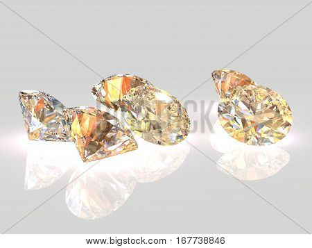 Luxury gold diamonds on whte backgrounds - clipping path included