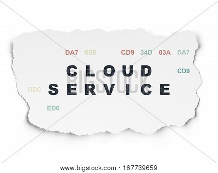 Cloud technology concept: Painted black text Cloud Service on Torn Paper background with  Hexadecimal Code