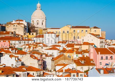 View of the Alfama Neighbourhood in Lisbon, Portugal, with colorful buildings and National Pantheon