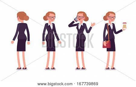 Set of young smiling businesswoman in formal wear, standing poses, talking on phone, holding bag and coffee, full length, front and rear view isolated against white background, successful manager