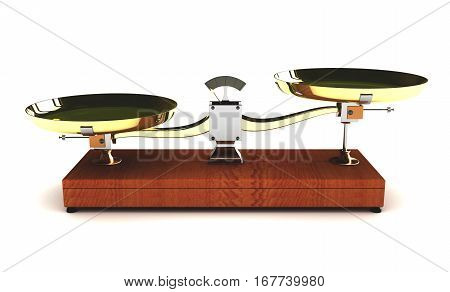 3d illustration of unbalanced scales on white background