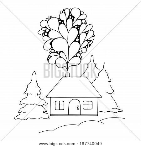 Vector illustration: Hand drawn landscape with house and pine. Sketch line design.