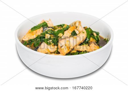 Spicy Fried Salmon With Basil Leaves