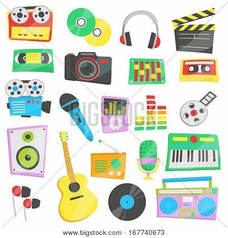 Collection of bright cartoon vector illustrations for various music, audio and video devices and appliances. Camera and studio equipment.
