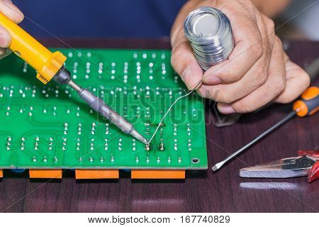 Soldering On Circuit Board