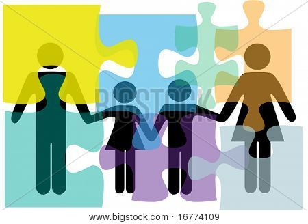 Puzzled family people problem symbols in counseling mental health psychology abstract.